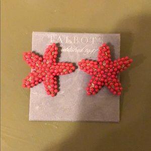 Talbot's red starfish earrings. Never worn